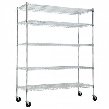 5 Tier Silver Rolling Storage Rack Wire Shelving Unit Kitchen Shelf